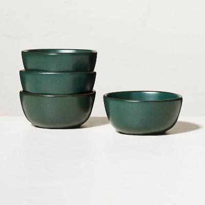 4pk Stoneware Exposed Rim Mini Bowl Set Dark Green - Hearth & Hand™ with Magnolia
