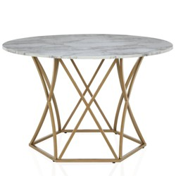 Elle Round Dining Table Gold - CosmoLiving by Cosmopolitan