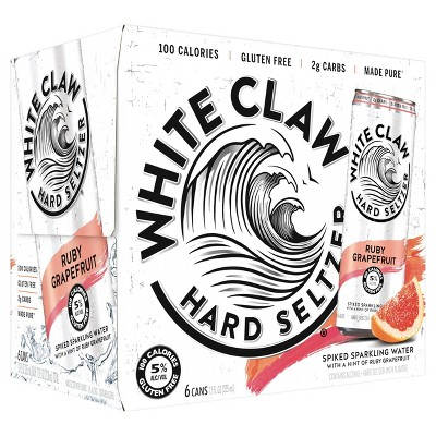 White Claw Ruby Grapefruit Hard Seltzer - 6pk/12 fl oz Slim Cans