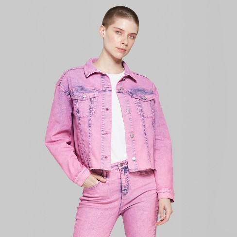 3db5985593 Women s Long Sleeve Colored Acid Wash Cropped Denim Trucker Jacket - Wild  Fable™ Pink
