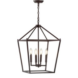 "16"" Metal Pagoda Lantern Pendant (Includes Energy Efficient Light Bulb) - JONATHAN Y"