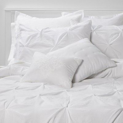 Queen 8pc Montvale Pinch Pleat Comforter Set White - Threshold™