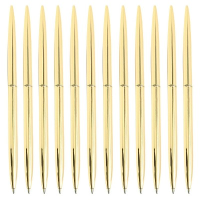 Juvale 12-Pack Retractable Gold Ballpoint Pens Bulk Set for Office Supplies, Black Ink (6.4 in)