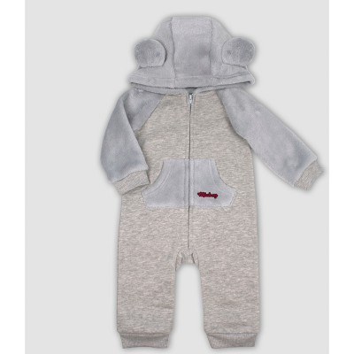 Baby Boys' Disney Mickey Mouse & Friends Mickey Mouse Hooded Romper - Gray 3-6M