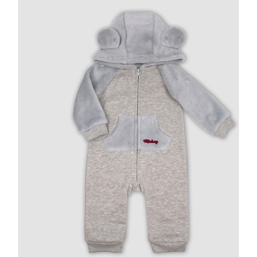 Baby Boys' Disney Mickey Mouse & Friends Mickey Mouse Hooded Romper - Gray 12M