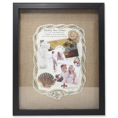 "11""x14"" Burlap Display Board Front Hinged Shadow Box Frame Black - Lawrence Frames"