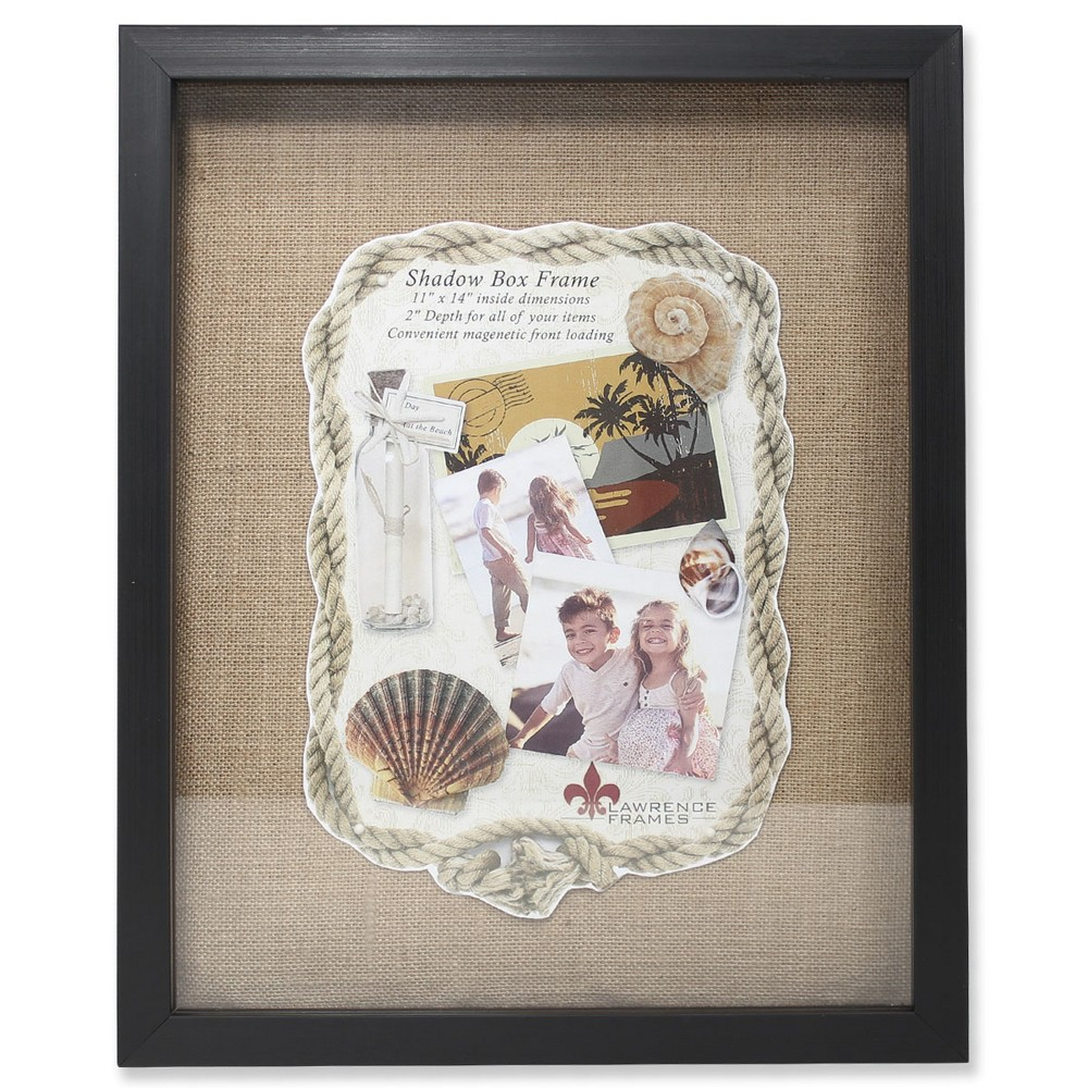 "Image of ""11""""x14"""" Burlap Display Board Front Hinged Shadow Box Frame Black - Lawrence Frames"""