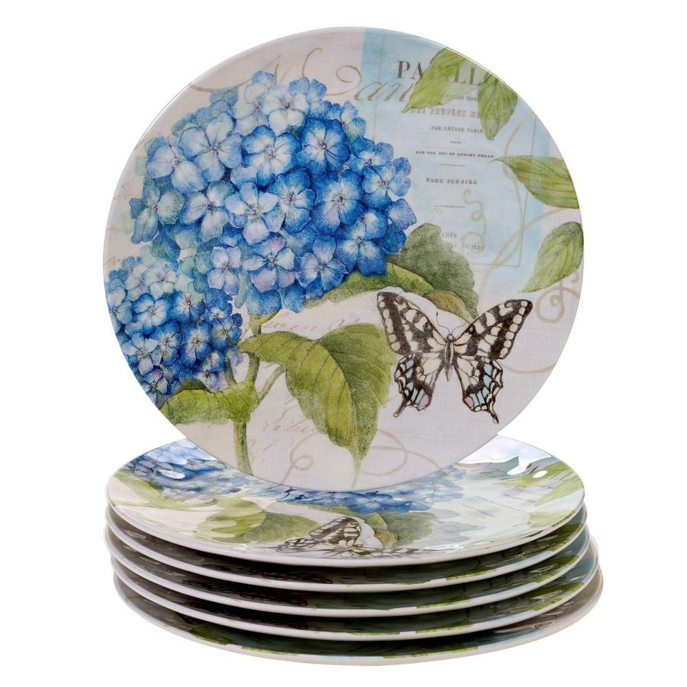 Image of 11 6pk Melamine Hydrangea Garden Dinner Plates Blue/Purple - Certified International