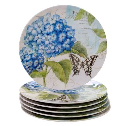 "11"" 6pk Melamine Hydrangea Garden Dinner Plates Blue/Purple - Certified International - image 1 of 1"