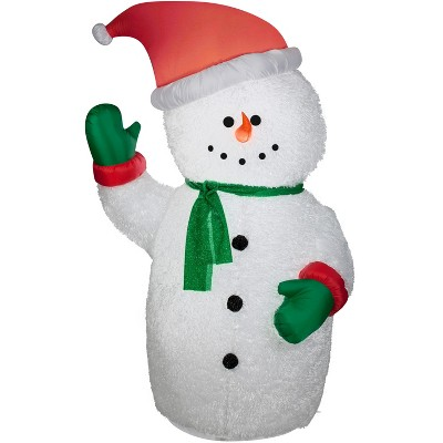 Gemmy Christmas Airblown Inflatable Mixed Media Snowman, 6 ft Tall, white