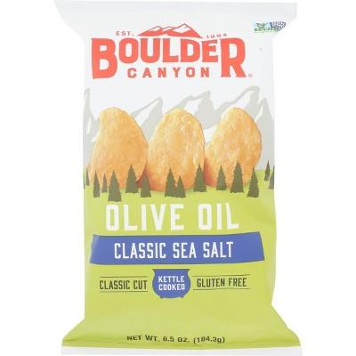 Boulder Canyon Olive Oil Sea Salt Kettle Cooked Potato Chips - 78oz/12pk