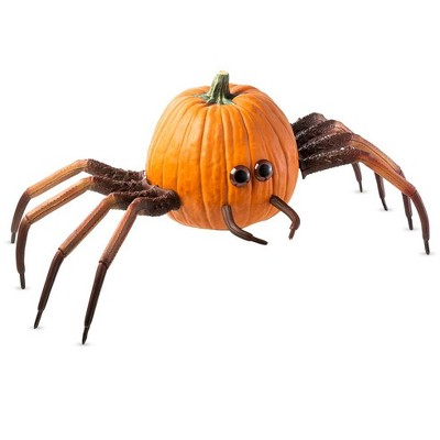 HearthSong - Spider Pumpkin Appendages with 2 Sets of Legs, 2 Palps, and 2 Eyes, Decorates One Pumpkin