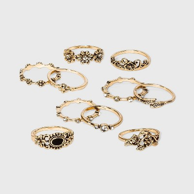 Gold Ox and Stones Multi Ring Set - Wild Fable™ Gold