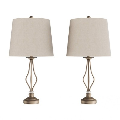 Set of 2 Modern Curved Openwork Lamps