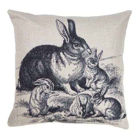 Rabbits Print Square Throw Pillow Gray - Saro Lifestyle - image 1 of 3