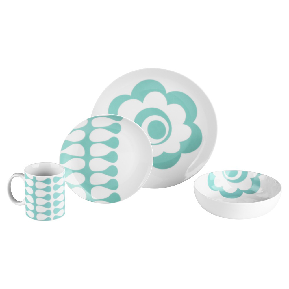 Image of Bzyoo Coppa 16pc Dinnerware Set Mint Flower Vine