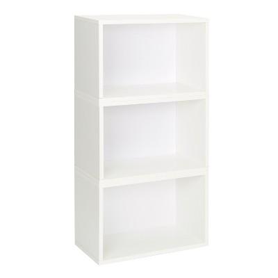 Way Basics Hillcrest 3 Stackable Rectangle Bookcase, White - Lifetime Guarantee