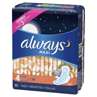 Always Maxi Overnight Pads With Wings Size 4 Unscented 33ct