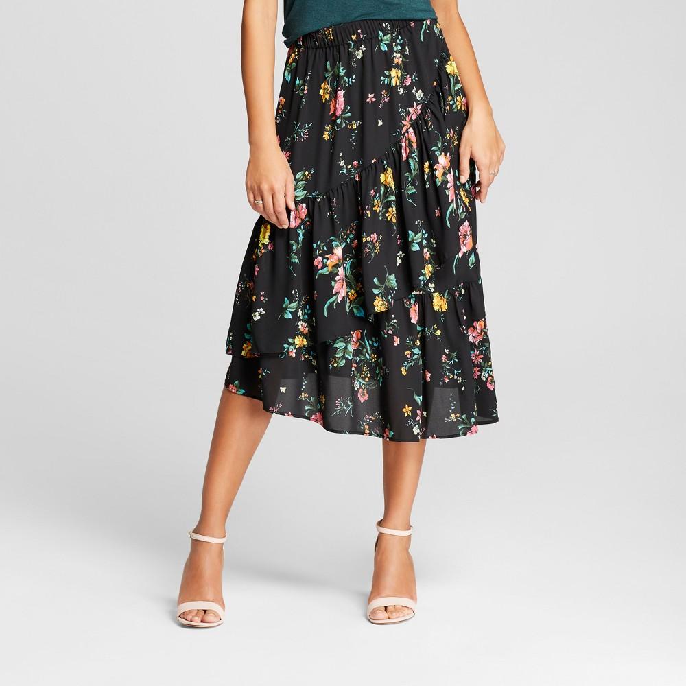 Women's Floral Asymmetrical Ruffle Skirt - Alison Andrews Black XL