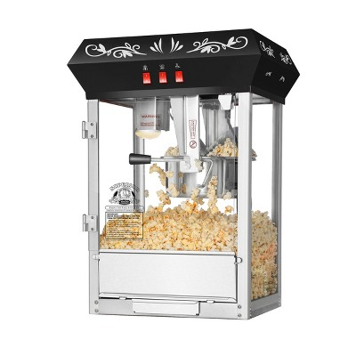 Countertop Popcorn Machine- Antique Style Movie Night Popper- 8oz Kettle, Old Maids Drawer, Warming Tray and Scoop by Superior Popcorn Company (Black)