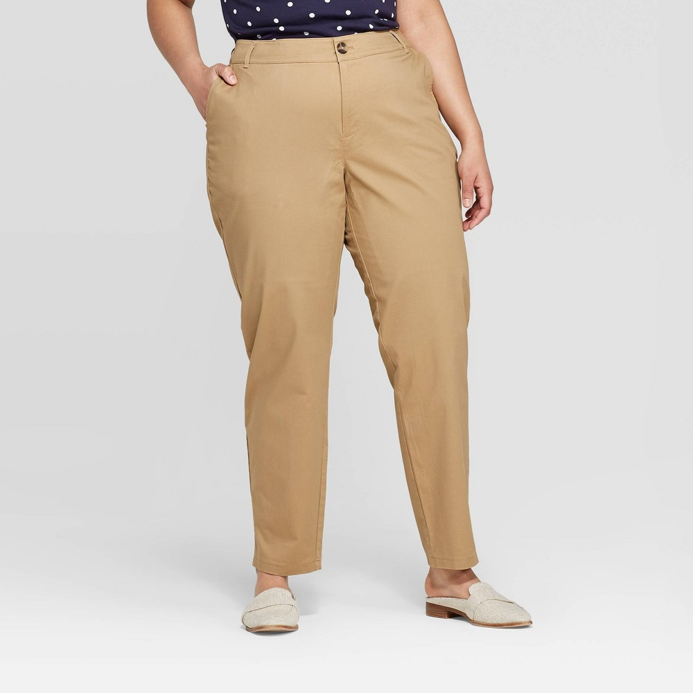 Women's Plus Size Slim Fit Chino Pants - Ava & Viv Khaki (Green) 26W