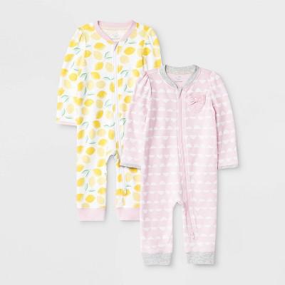 Baby Girls' 2pk Oh Honeybee Rompers - Cloud Island™ 3-6M