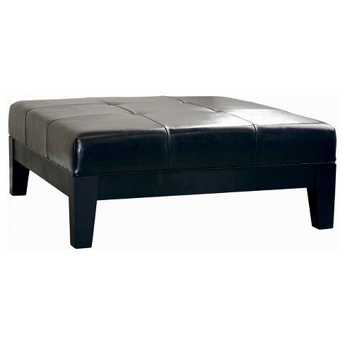 Large Full Leather Square Cocktail Ottoman Black - Baxton Studio - image 1 of 5