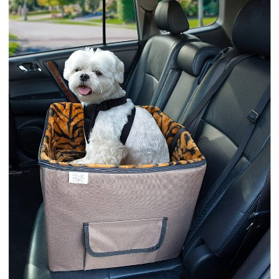 Arf Pets Pet Car Seat, Dog Booster Safety Seat With Adjustable Straps, Solid Foam Base, Includes Attached Tether strap, Plush, Washable Lining