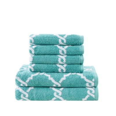 6pc Becker Cotton Jacquard Bath Towels Sets Aqua