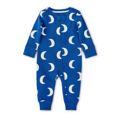Baby Moon Print Front Zipper Long Sleeve Pajama - Christian Robinson x Target Blue