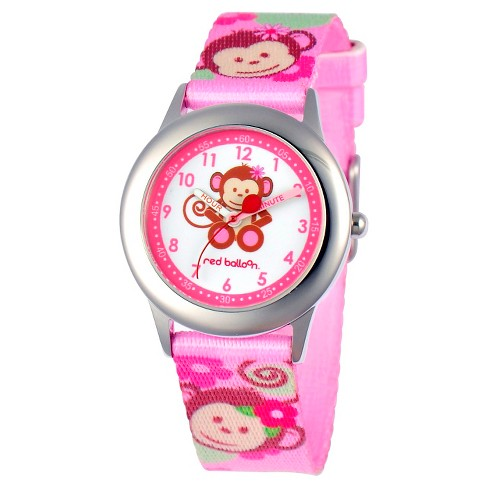 Disney® Girls' Red Balloon Pretty Girl Monkey Stainless Steel Time Teacher Watch - Pink - image 1 of 2