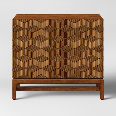 Pleasant Tachuri Geometric Front 2 Door Cabinet Brown Opalhouse Inzonedesignstudio Interior Chair Design Inzonedesignstudiocom