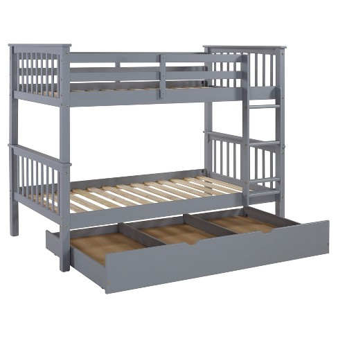Solid Wood Bunk Bed With Trundle Bed   Saracina Home : Target