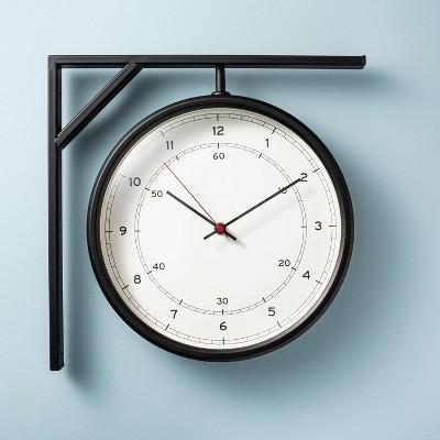 Metal Outdoor Corner Clock Black - Hearth & Hand™ with Magnolia