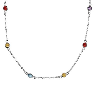"Sterling Silver Station Chain Crystal Necklace (18"")"