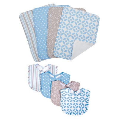 Trend Lab 8pc Bib & Burp Cloth Gift Set - Logan