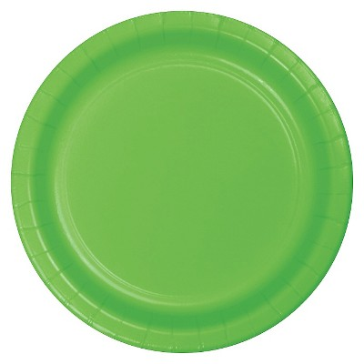 """Fresh Lime Green 9"""" Paper Plates - 24ct"""