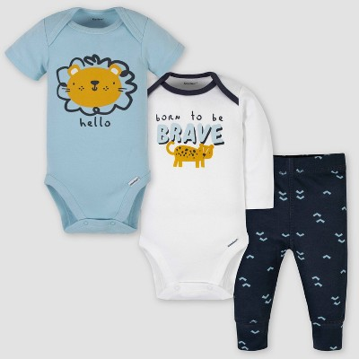 Gerber Baby Boys' Take Me Home Lion Top and Bottom Set - White/Blue Newborn