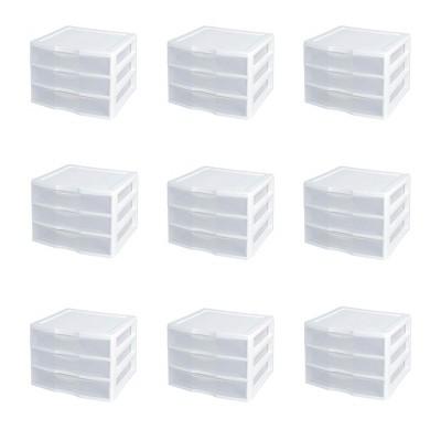 Sterilite Wide 3-Drawer Desktop Storage Organization Unit, White & Clear, 9-Pack