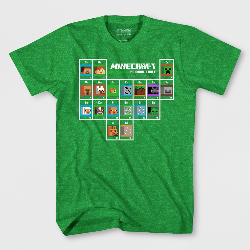 Boys 39 Minecraft Periodic Table Short Sleeve Graphic T Shirt Green S