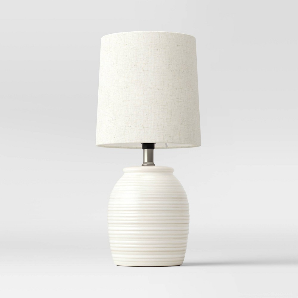 Embossed Striped Pattern Ceramic Mini Lamp White Includes Led Light Bulb Threshold 8482