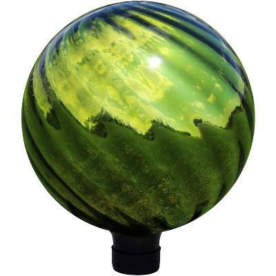 "Rippled Mirrored Surface 10"" Gazing Globe - Green - Sunnydaze Decor"