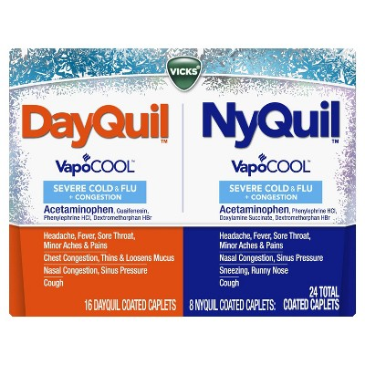 DayQuil & NyQuil Severe with Vicks VapoCOOL Cold & Flu Relief Caplets - Acetaminophen - 24ct