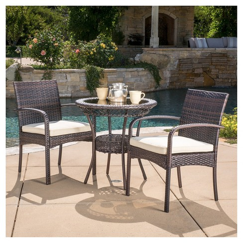 Brown Wicker Patio Furniture.Ridley 3 Piece Wicker Patio Bistro Set With Cushions Brown Christopher Knight Home
