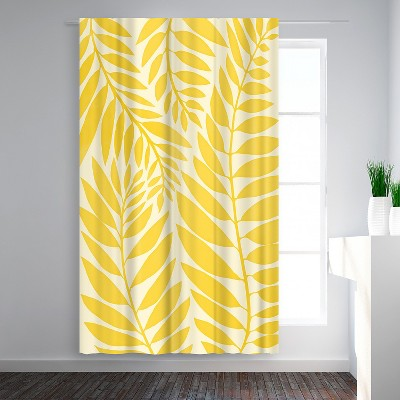 Americanflat Golden Yellow Leaves  by Modern Tropical Blackout Rod Pocket Single Curtain Panel 50x84