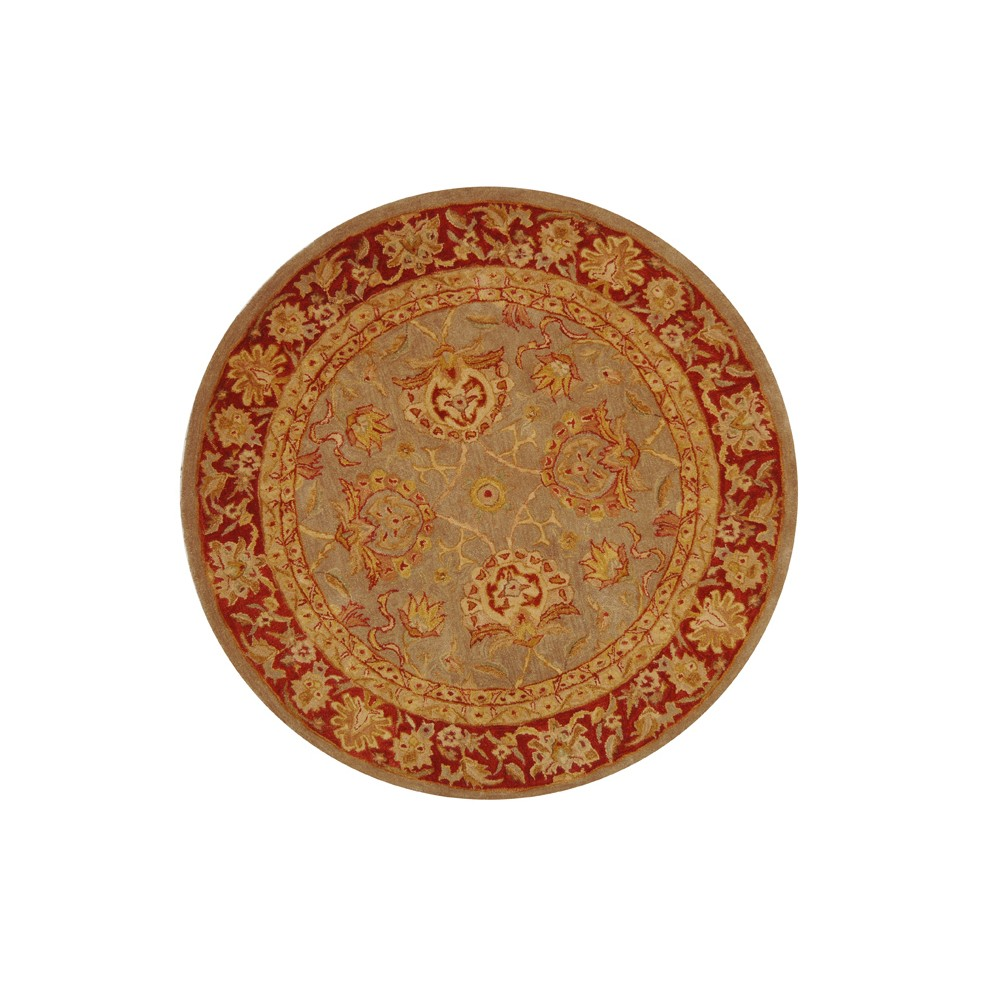 Gray/Red Floral Tufted Round Accent Rug 4' - Safavieh, Gray Red
