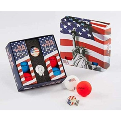 Volvik Vivid USA Golf Balls 6 Balls w Ball Marker Hat Clip