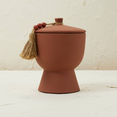 17oz Lidded Terracotta Jar 3-Wick Pink Wooded Rose Candle - Opalhouse™ designed with Jungalow™