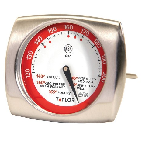 Taylor Gourmet Stainless Steel Leave-in Meat Thermometer, Silver