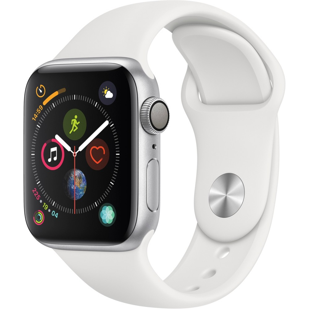 Apple Watch Series 4 GPS 40mm Silver Aluminum Case with Sport Band - White, White Sport Band